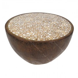 Mesa baja en palmera con resina