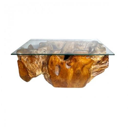 Mesa baja de raíz de teca