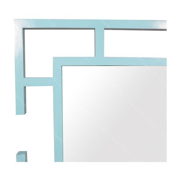 Espejo de dise o con marco de madera de teca lacado en azul turquesa - Espejos con diseno ...