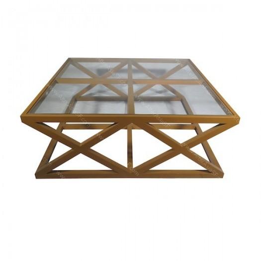 Mesa de centro de madera de teca lacada en rojo y con cristal - Mesa baja cristal ...