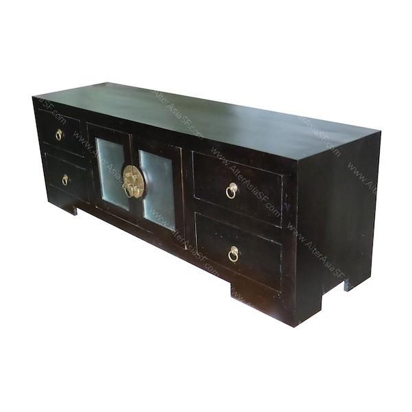 mueble de tv oriental realizado en madera de teca