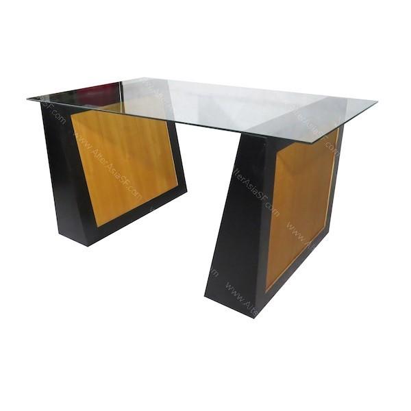 Mesa de despacho de cristal y patas de bloque - Mesa cristal despacho ...