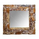 Espejo de trozos de teca