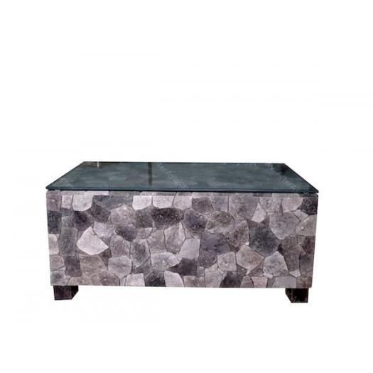 Mesa baja realizada con plaquetas de piedra volc nica y - Mesa baja cristal ...