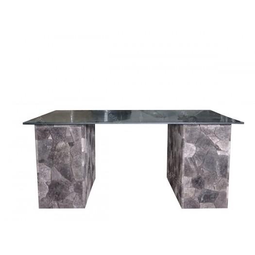 Mesa baja dos patas con cristal