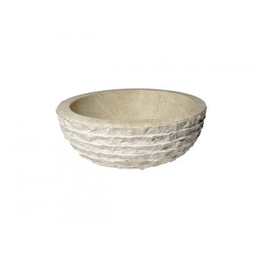 Lavabo de mármol crema rayas