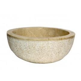 Lavabo de mármol crema martillo