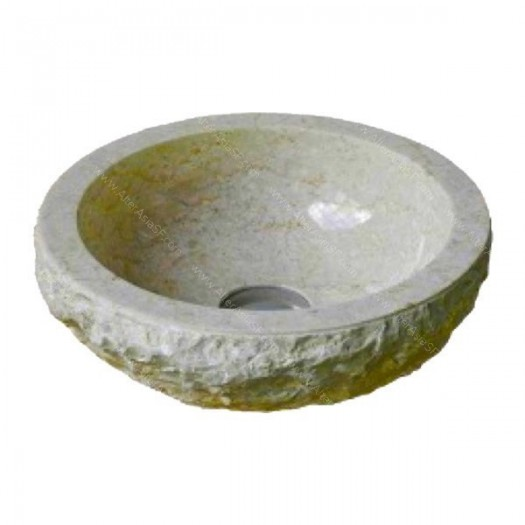 Lavabo de mármol crema rustico