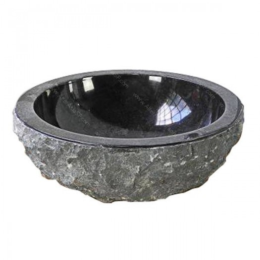 Lavabo de mármol negro rustico