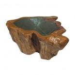 Mesa tronco con cristal