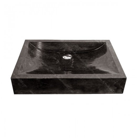 Lavabo de mármol negro