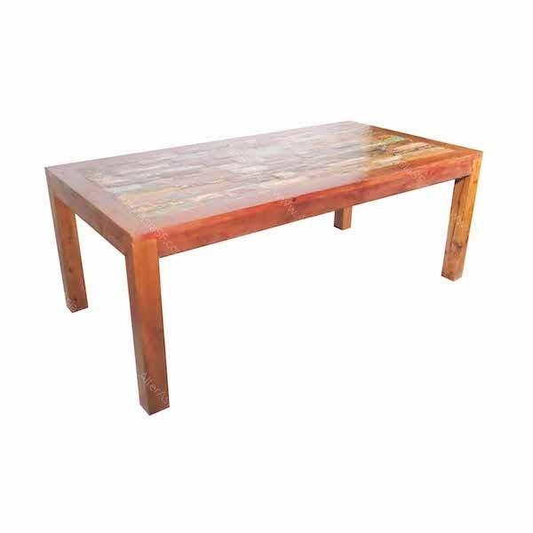 Mesa para comedor realizada artesanalmente a partir de maderas de antiguas barcas de pesca y - Mesa madera reciclada ...
