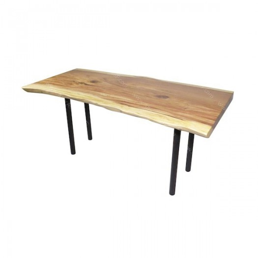 Mesa para oficina realizada en madera de acacia con patas de metal ...
