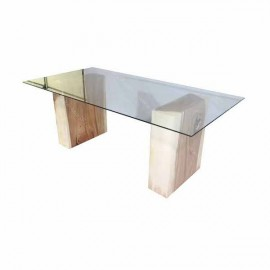 Mesa cristal y acacia