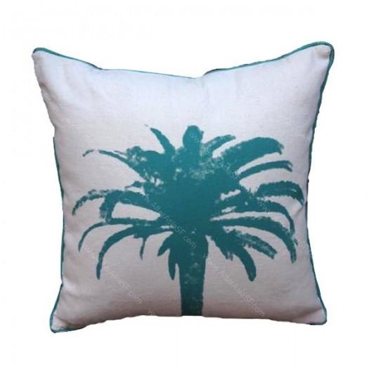 Funda cojín aqua palmera