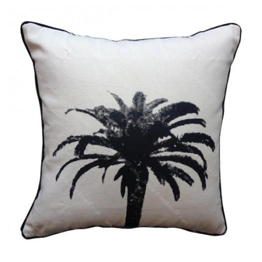 Funda cojín palmera negra
