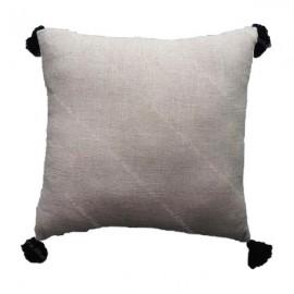 Funda cojín tassels negro