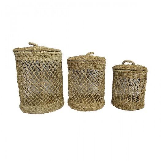 Set 3 cestos trenzados