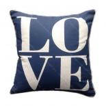 Funda cojín LOVE azul marino