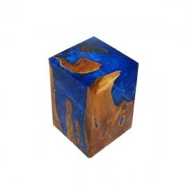 Taburete madera y resina azul