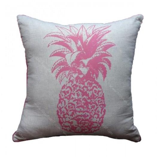 funda cojín piña rosa
