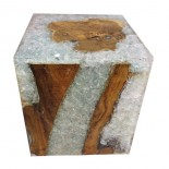 Taburete teca y resina cristal