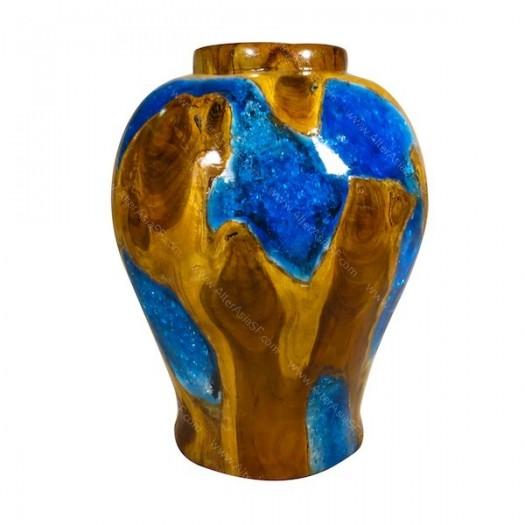 Jarrón teca y resina azul