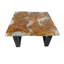 Mesa baja teca y resina cristal