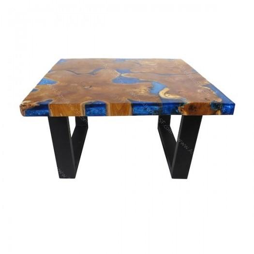 Mesa de resina epoxi azul