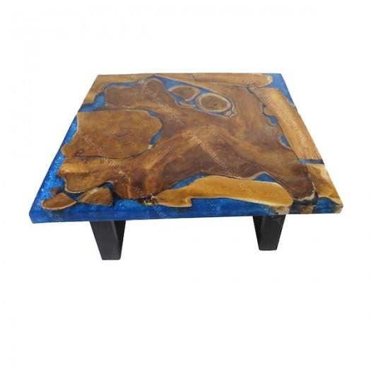 Mesa baja resina epoxi azul