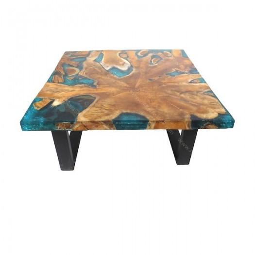 Mesa baja teca y resina turquesa