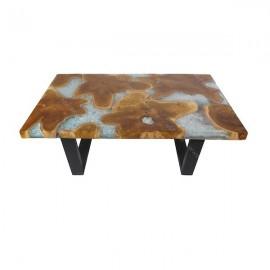 Mesa baja madera y resina cristal