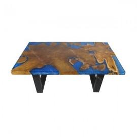 Mesa baja teca y resina azul