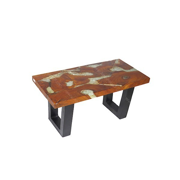 Mesa baja de madera de teca y resina acr lica cristal con cristales en su interior - Mesa baja cristal ...