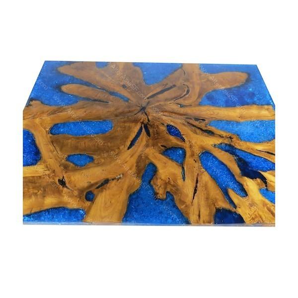 Mesa alta de madera de teca y resina epoxi azul for Resina epoxi madera