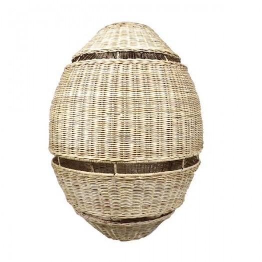 Lámpara ratán huevo con lineas